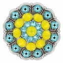 Swarovski Rhinestone Crystal Floral Scalloped Edge Concho - Yellow Opal / Light Turquoise
