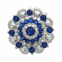 Swarovski Rhinestone Crystal Silver Polished Berry Concho - Crystal Clear and Capri Blue