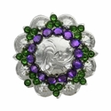 Swarovski Rhinestone Crystal Silver Polished Berry Concho - Fern Green and Heliotrope