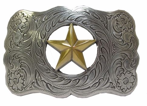 H8459 ASAG Texas Gold Star Western Ranger Belt Buckle