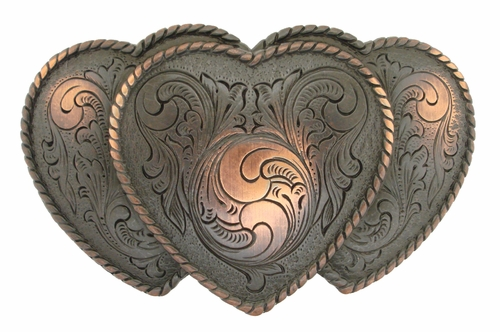 HA0086-1 SCVRB Three Heart Shape Western Belt Buckle