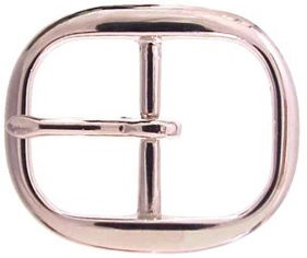 TV-718-2 NP Brass Polished Nickle Finish Belt Buckle 1""