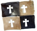 White Fur Cross Cosmetic bag