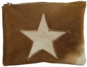 White Fur Star Cosmetic Bag