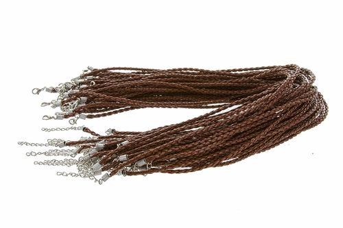 Woven Necklace Cord - Brown