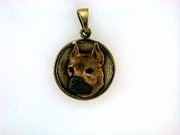 American Staffordshire Terrier C473Y Head/Disc Rhodium Color