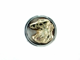 Borzoi Head/RHF 14KY & Silver Ring w/Disc