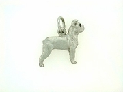 Boston Terrier C439W/Uncropped Ears/Rhodium E&N (WG)