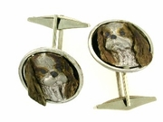 Cavalier King Charles Spaniel C468W Head/Disc Rhodium Color & Cuff Link