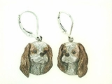 Cavalier King Charles Spaniel Head/Rhodium Color LBD Earring