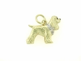 Cocker Spaniel C049Y/Rhodium E&N/6-White Dia. Collar