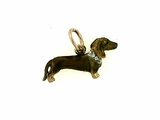 Dachshund C046R Shorthaired/Rhodium Color/8-White Dia. Collar (RG)