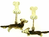 Dachshund C083Y Longhaired/Rhodium & Dog Bone Cuff Link