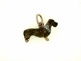 Dachshund C259R Wirehaired/Rhodium Color/8-White Dia. Collar (RG)