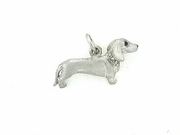 Dachshund P046 Shorthaired/Rhodium E&N/8-White D Collar (platinum)