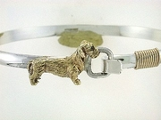 Dachshund Wirehaired C259Y/Rhodium E&N on Silver Cuff Bracelet & Gold Fill Wire