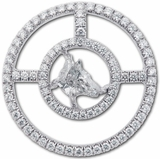 Diamond Dog Head .88 Cts. SI-H, 86 Micro Set .64 Cts VS F-G Platinum/Brooch (14KWG)