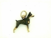 Doberman C064Y/Rhodium & Black Dia. Eyes