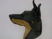 Doberman Head C606Y/Rhodium Black & Tan