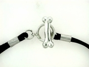 "Dog Bone B Toggle B17/Black Cord 7.5"" Bracelet"