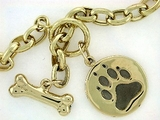 "Dog Bone B Toggle & Round Paw B/Rhodium/Oval Chain N16Y 18"" Necklace"