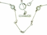 "Dog Bone C Toggle/Bridal Chain N8W/4-DS 18"" Necklace (WG)"