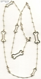 "Dog Bone C Toggle/Bridal Chain N8Y & Assorted Dog Bones/Diamonds 37"" Necklace"