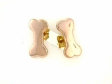 Dog Bone ER159BR Tag Flat/Post Earring (RG)