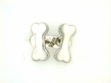 Dog Bone ER159BW Tag Flat/Post Earring (WG)