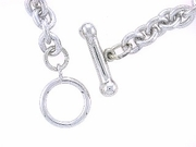"Dog Bone Toggle/Round Solid Chain B5W 7.5"" Bracelet (WG)"
