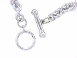 "Dog Bone Toggle/Round Solid Chain B5W 7"" Bracelet (WG)"