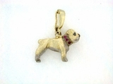 English Bulldog C197W Short Leg/Rhodium White & 9-Rubies Collar & P Enhancer