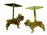 English Bulldog C197Y Short Leg/Rhodium White & 9-RubiEs Collar & Cuff Link