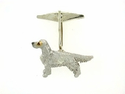 English Setter C294W/Rhodium Nose & 10-White D Collar & Cognac D Eyes & Cuff Link (WG)