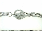 "Fish B Toggle/Oval Chain B16W 07"" Bracelet (WG)"