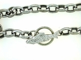"Fish B Toggle/Oval Chain B16W/1-DWE 07"" Bracelet (WG)"