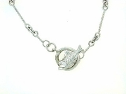 "Fish C Toggle/Bridal Chain N8W 16"" Necklace (WG)"