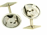 French Bulldog C306W Head/Disc Rhodium E&N & Cuff Link (WG)