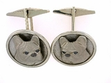 French Bulldog C306W Head/Disc Rhodium Nose & Black D Eyes & Cuff Link (WG)