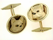 French Bulldog C306Y Head/Disc Rhodium E&N & Cuff Link