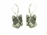 French Bulldog Head ER486W/Rhodium LBD Earring