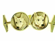 German Shepherd C503Y Head/Disc Rhodium Nose, Cognac D Eyes & Cuff Link