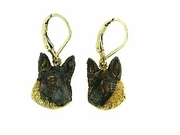 German Shepherd ER502 Head/Rhodium LBD Earring