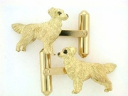 Golden Retriever C039Y/Rhodium E&N & Cuff Link