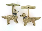 Golden Retriever C252Y/Rhodium E&N/Blue D & Pink S Collar Cuff Link