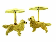 Golden Retriever C310Y/Rhodium E&N & Cuff Link