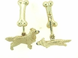 Golden Retriever C310Y/Rhodium E&N & Dog Bone Cuff Link