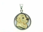 Golden Retriever C484YW Head/Disc Rhodium E&N