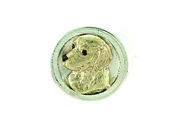 Golden Retriever Head/RHF in 14KY & Silver Ring/Disc