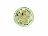 Golden Retriever Head 14KY RHF & Ring/Disc Silver